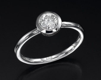 0.50 CT round cut F/SI1 diamond solitaire bezel setting engagement ring 14K white gold