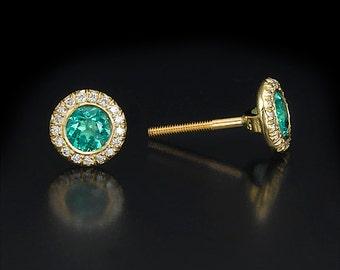 Emerald halo stud, emerald earrings, halo diamond studs, yellow gold studs, green stone earrings, round halo earrings, May birthstone