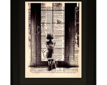 """Wish"""".Dictionary Art Print. Vintage Upcycled Antique Book Page. Fits 8""""x10"""" frame"""