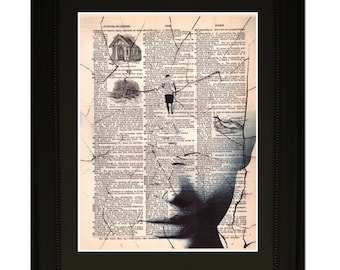 "Focus''.Dictionary Art Print. Vintage Upcycled Antique Book Page. Fits 8""x10"" frame"