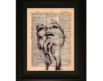 "Rage"".Dictionary Art Print. Vintage Upcycled Antique Book Page. Fits 8""x10"" frame"