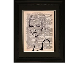 """Azure"""".Dictionary Art Print. Vintage Upcycled Antique Book Page. Fits 8""""x10"""" frame"""
