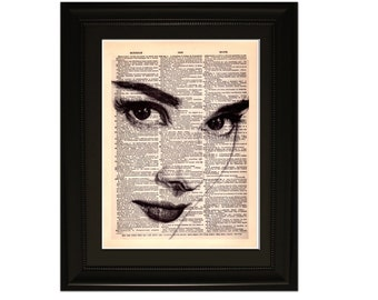 "Hepburn"".Dictionary Art Print. Vintage Upcycled Antique Book Page. Fits 8""x10"" frame"