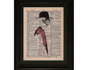 "Rouge"".Dictionary Art Print. Vintage Upcycled Antique Book Page. Fits 8""x10"" frame"