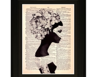 "Dreamer"".Dictionary Art Print. Vintage Upcycled Antique Book Page. Fits 8""x10"" frame"