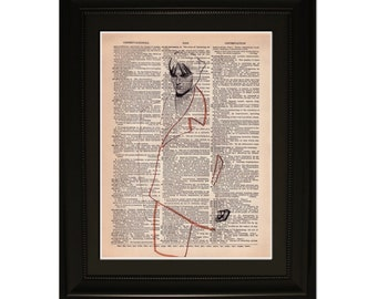 """Ashen"""".Dictionary Art Print. Vintage Upcycled Antique Book Page. Fits 8""""x10"""" frame"""