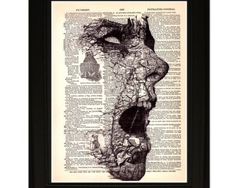 "Stones"".Dictionary Art Print. Vintage Upcycled Antique Book Page. Fits 8""x10"" frame"
