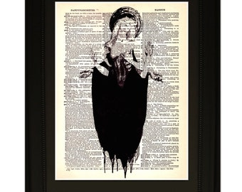 """Justice"""".Dictionary Art Print. Vintage Upcycled Antique Book Page. Fits 8""""x10"""" frame"""