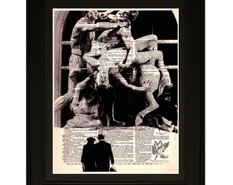"""Titans"""".Dictionary Art Print. Vintage Upcycled Antique Book Page. Fits 8""""x10"""" frame"""