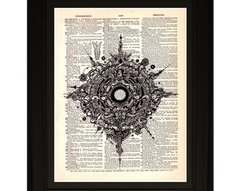"Eye''.Dictionary Art Print. Vintage Upcycled Antique Book Page. Fits 8""x10"" frame"