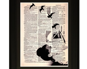"""Slides"""".Dictionary Art Print. Vintage Upcycled Antique Book Page. Fits 8""""x10"""" frame"""