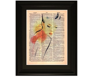 """Rose"""".Dictionary Art Print. Vintage Upcycled Antique Book Page. Fits 8""""x10"""" frame"""