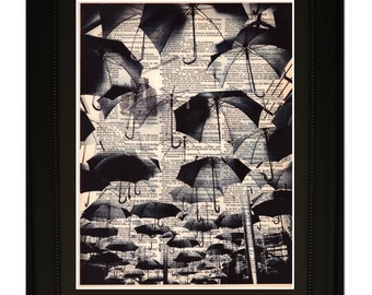 """Rain"""".Dictionary Art Print. Vintage Upcycled Antique Book Page. Fits 8""""x10"""" frame"""