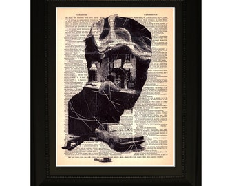 """Decisions"""".Dictionary Art Print. Vintage Upcycled Antique Book Page. Fits 8""""x10"""" frame"""
