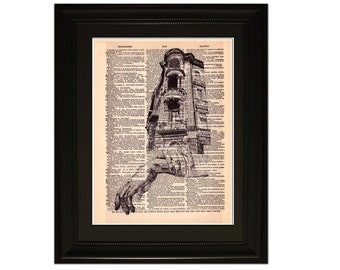 "Hand Craft"".Dictionary Art Print. Vintage Upcycled Antique Book Page. Fits 8""x10"" frame"