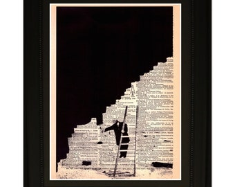 """Persistence"""".Dictionary Art Print. Vintage Upcycled Antique Book Page. Fits 8""""x10"""" frame"""