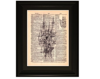 """Fairytale''.Dictionary Art Print. Vintage Upcycled Antique Book Page. Fits 8""""x10"""" frame"""