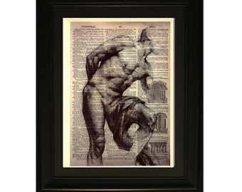 """Strenght"""".Dictionary Art Print. Vintage Upcycled Antique Book Page. Fits 8""""x10"""" frame"""
