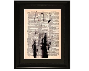 "Femme"".Dictionary Art Print. Vintage Upcycled Antique Book Page. Fits 8""x10"" frame"