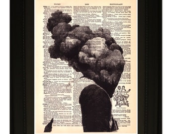 "Smoke"".Dictionary Art Print. Vintage Upcycled Antique Book Page. Fits 8""x10"" frame"