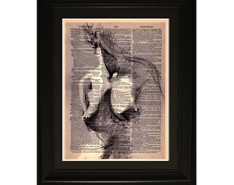 "Muse''.Dictionary Art Print. Vintage Upcycled Antique Book Page. Fits 8""x10"" frame"