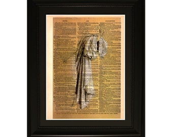"Drappery"".Dictionary Art Print. Vintage Upcycled Antique Book Page. Fits 8""x10"" frame"