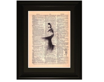 "Sentiment"".Dictionary Art Print. Vintage Upcycled Antique Book Page. Fits 8""x10"" frame"