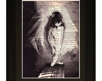 """Dancer"""".Dictionary Art Print. Vintage Upcycled Antique Book Page. Fits 8""""x10"""" frame"""