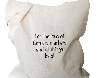 Farmers market bag, eco fabric shopping bag, tote bag birthday gifts