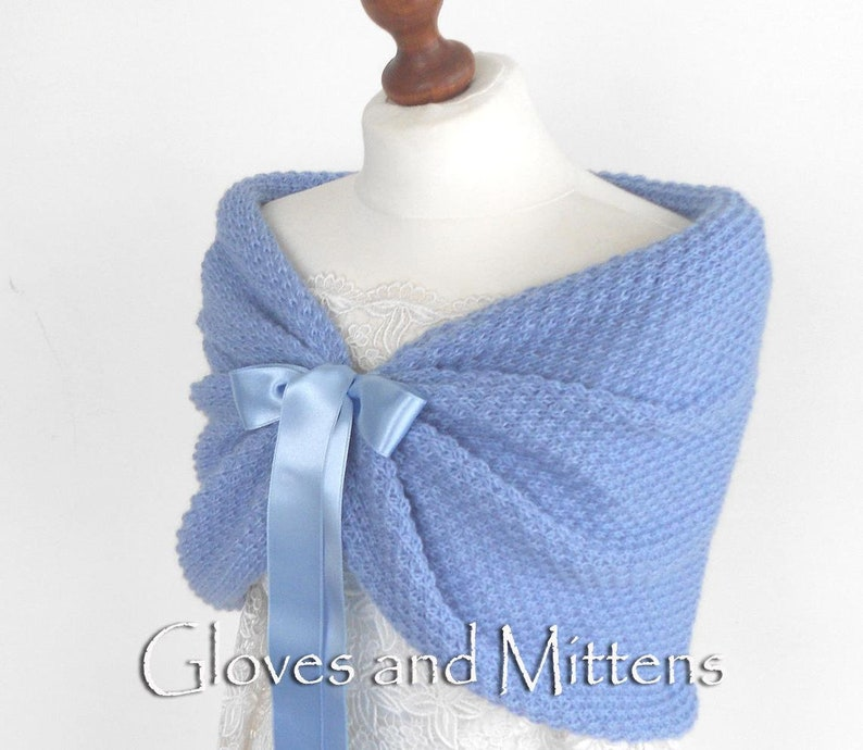 6 SET of 2 3 5 7 8 9 or 10 Bridesmaid Shawl Light Blue Wrap Cover Up Knitted Capelet Cape Bridesmaids Accessories Bolero Stole LOT 4