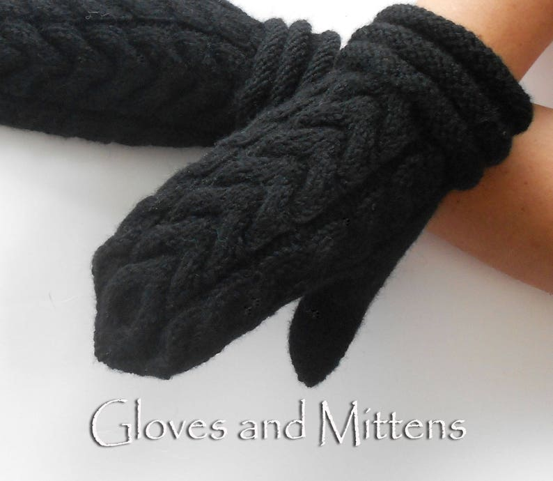 70611683023 Unisex Cable Knit Mittens Men Mittens Hand Knitted Wool