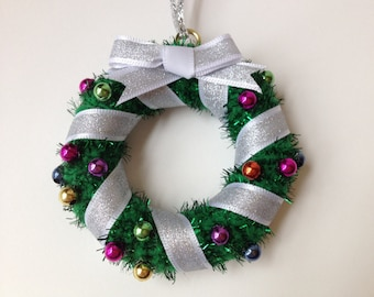 Classic Christmas Mini Wreath, Christmas Ornament with Silver Ribbon and Multicolored Shiny Beads