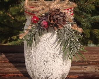 Snowy mason jar / holiday candle holder / Christmas favor / Christmas Mason Jar