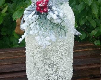 Holiday Centerpiece / Large  Mason jar centerpiece / Winter Mason Jar / Snowy mason jar centerpiece