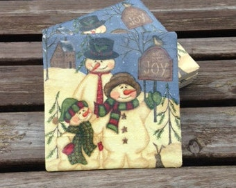 christmas coasters/holiday coasters/snowman coasters/teacher's gift/hostess gift