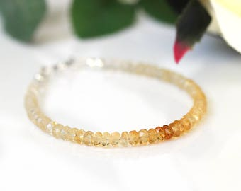 Ombre Citrine Bracelet, Genuine Citrine Jewelry, Citrine Bracelet Silver, Gift for Her, November Birthstone, Valentine's Gift for Girlfriend