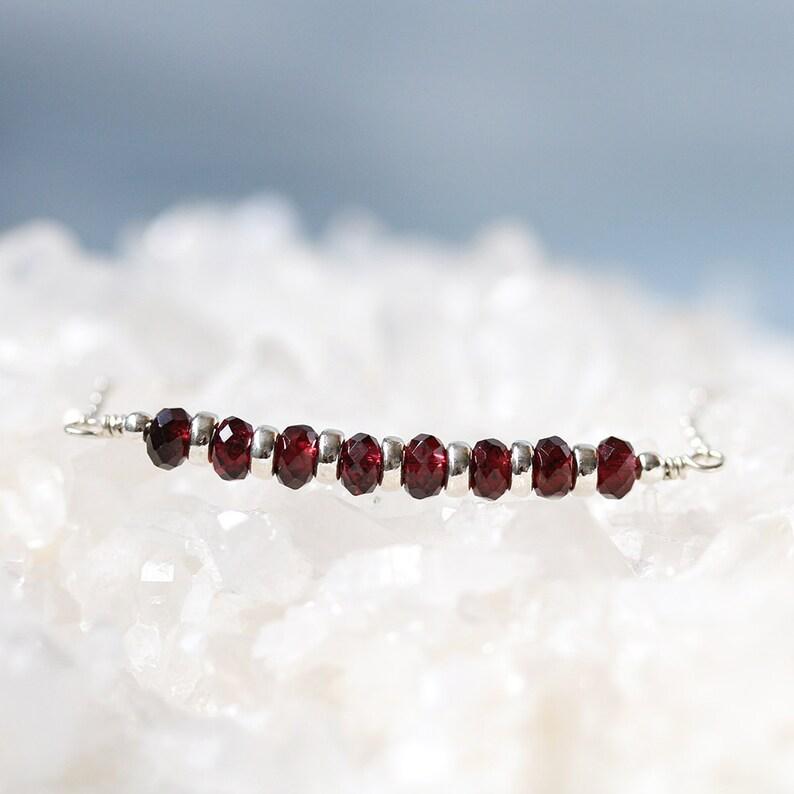 Dainty Red Garnet Necklace 925 Sterling Silver Garnet image 0