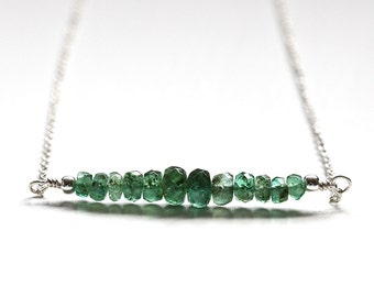 Zambian Emerald Necklace, Genuine Emerald Bar Necklace, 925 Sterling Silver, May Birthstone Jewelry, Bridesmaid Gift, Mother's Day Gift Her