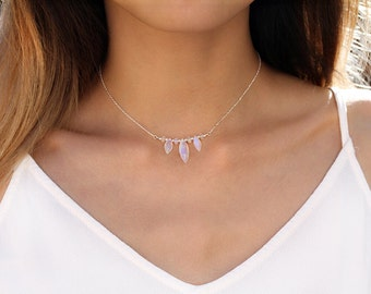 Natural Boho Moonstone Choker, Rainbow Moonstone Marquise Necklace, 925 Sterling Silver, June Birthstone Jewelry, Mother's Day Gift for Her