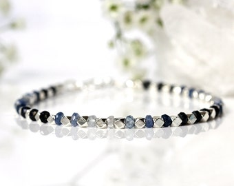 Sri Lankan Sapphire Bracelet, Genuine Natural Ombre Sapphire Jewelry, Shaded Gemstone Bracelet, 925 Sterling Silver, September Birthstone