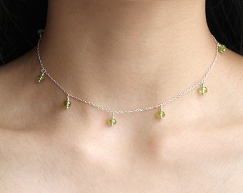 Floating Peridot Choker Necklace, Green Peridot Boho Jewelry, 925 Sterling Silver, Bridesmaids Necklace, August Birthstone, Gift for Her