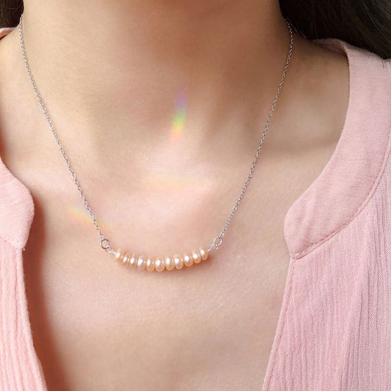 Peach Pearl Necklace: Peach Pearl Necklace Peach Pink Pearl Bar Necklace 925