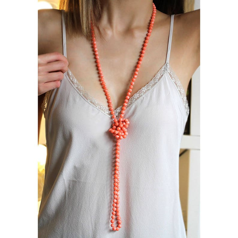 grandmother or wife made with genuine bamboo coral a perfect gift for mother Salmon pink long coral necklace