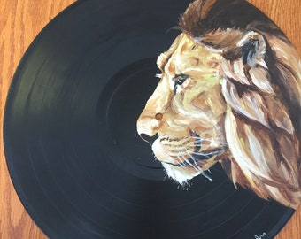Upcycled Vinyl Art-African Lion