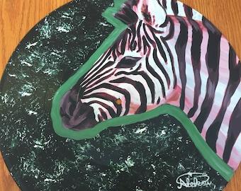Upcycled Vinyl Record Art-Zebra