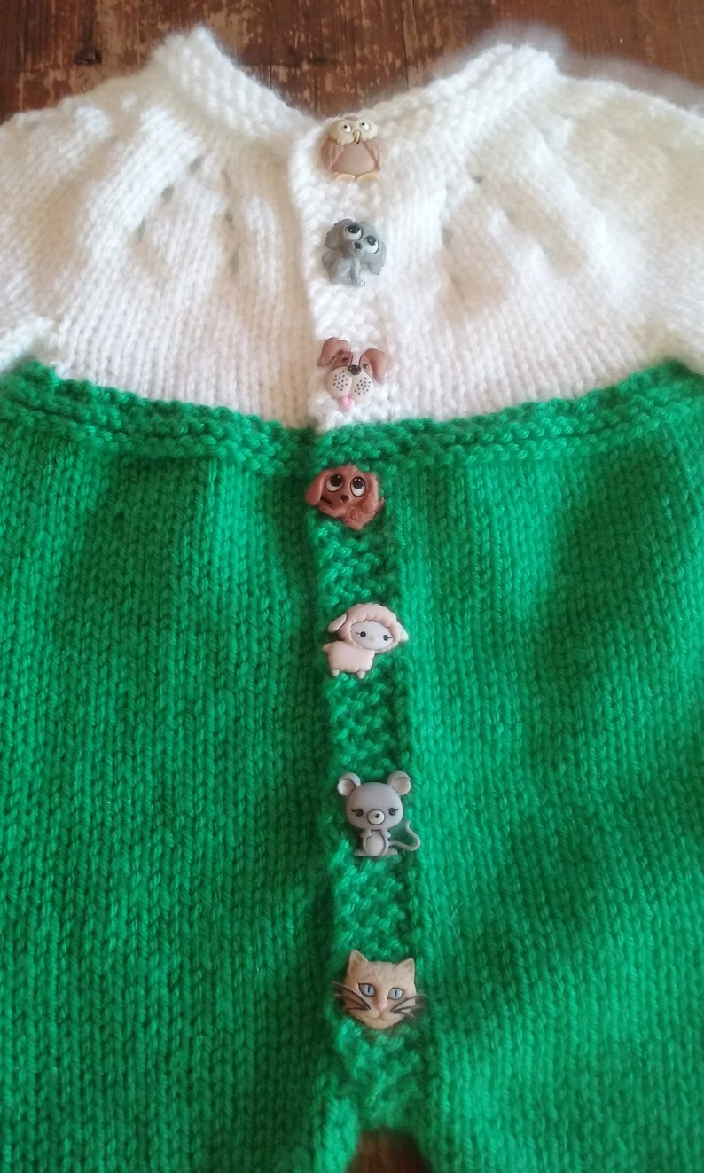 Baby Romper-Pants Onesie-Animal buttons-Green and white 9 to 12 mnth-Unisex-Long Sleeves and Legs-FREE SHIPPING Handmade Knit Item #1161