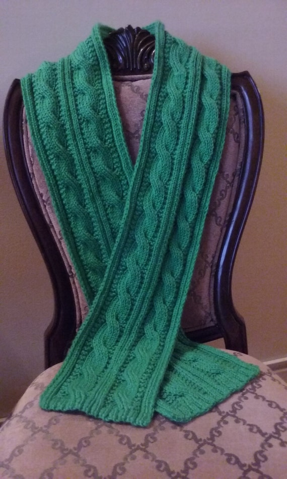 Knitting Pattern Only Irish Double Cable Scarf Reversible Etsy