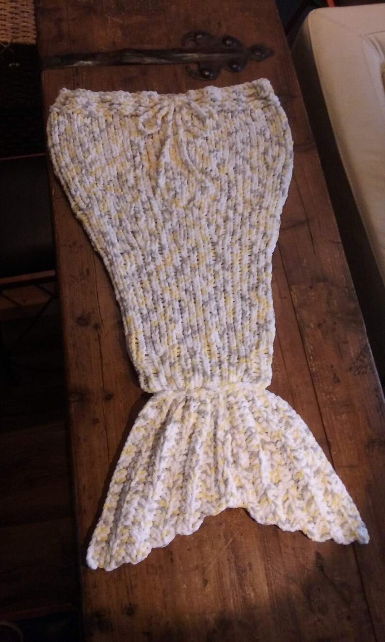 Baby to Toddler-Sleeping bag blanket snuggle time couch blanket Grey Blanket-Mermaid Yellow White Handmade Knit Item #1081