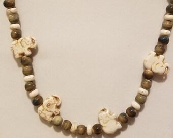 Elephant Glass Bead Necklace