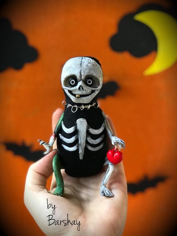 Creepy Skeleton doll Halloween gift toy Holiday decor design statue Polymer clay plush figurine